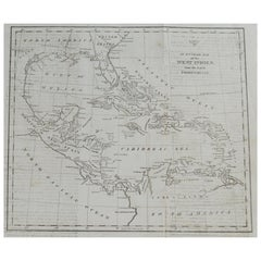 Original Antique Map of Florida & The Caribbean, circa 1800