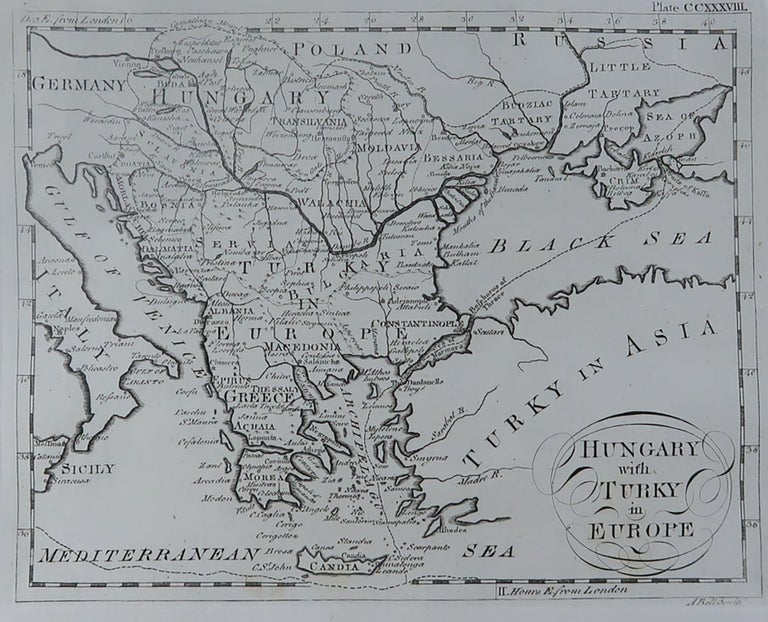 Super map of Greece  Copper plate engraving by A.Bell  Published, circa 1790.  Unframed.