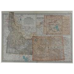 Original Antique Map of Idaho & Wyoming, circa 1890