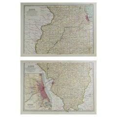 Original Antique Map of Illinois, circa 1890