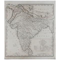 Original Antique Map of India, circa 1820