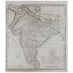 Original Antique Map of India, circa 1820
