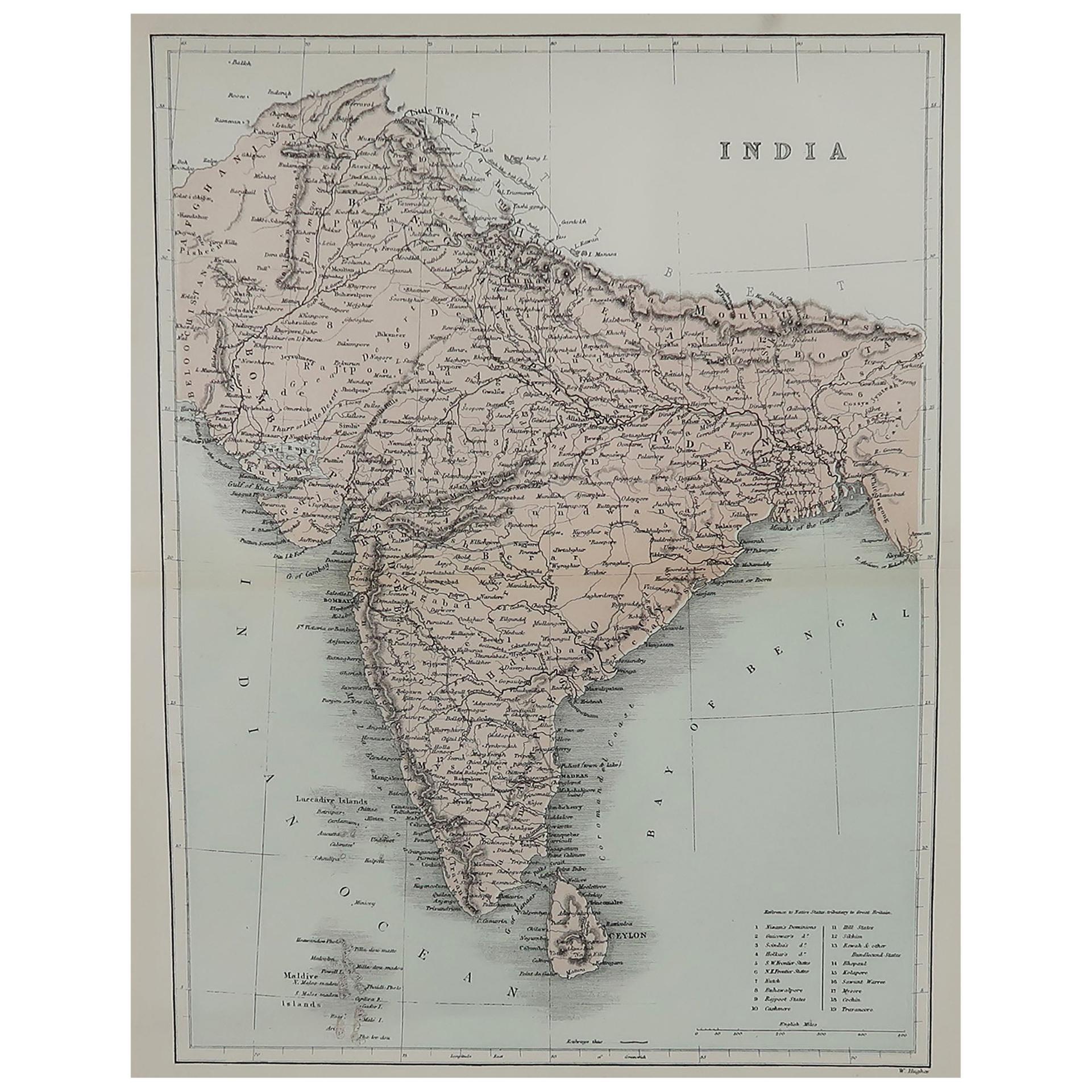 Original Antique Map of India, circa 1850