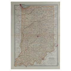 Original Antique Map of Indiana, circa 1890