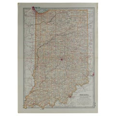 Original Antique Map of Indiana, circa 1890