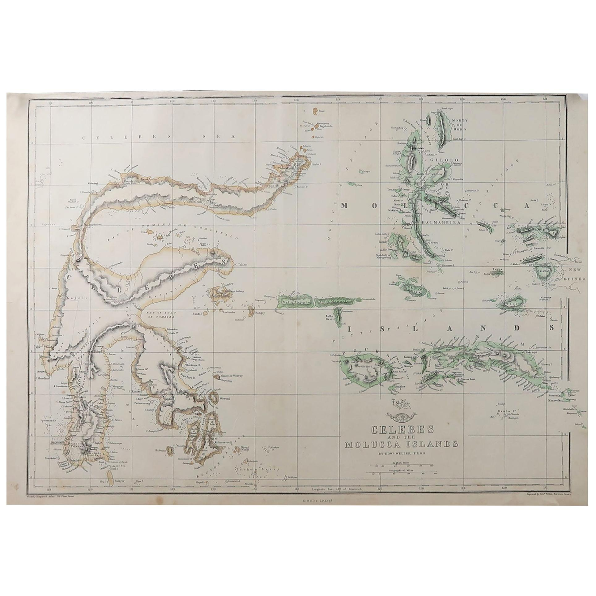 Original Antique Map of Indonesia, 1861