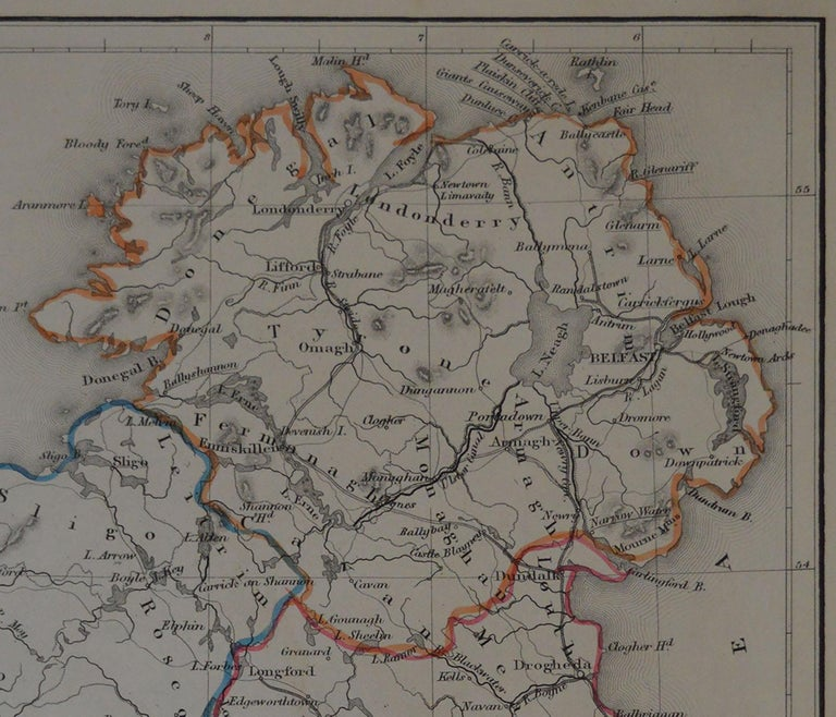 Other Original Antique Map of Ireland by Hughes, circa 1840 For Sale