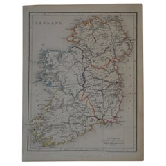 Original Antique Map of Ireland by Hughes, circa 1840