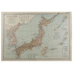 Original Antique Map of Japan, circa 1890