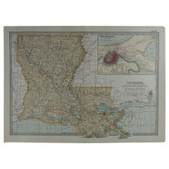 Original Antique Map of Louisiana, circa 1890