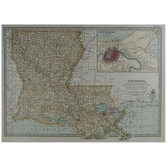 Original Antique Map of Louisiana, circa 1890