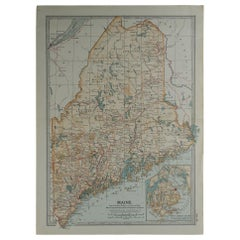 Original Antique Map of Maine, circa 1890