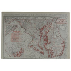 Original Antique Map of Maryland & Delaware by Rand McNally, circa 1900