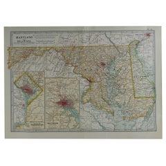 Original Antique Map of Maryland & Delaware, circa 1890