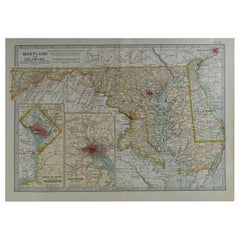 Original Antique Map of Maryland & Delaware, circa 1890