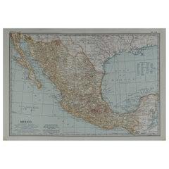 Original Antique Map of Mexico, circa 1890