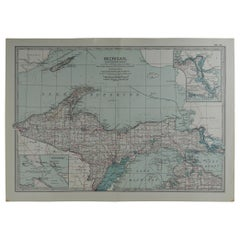 Original Antique Map of Michigan, circa 1890