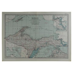 Original Antique Map of Michigan, circa 1890