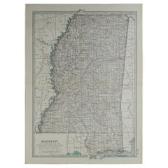 Original Antique Map of Mississippi, circa 1890