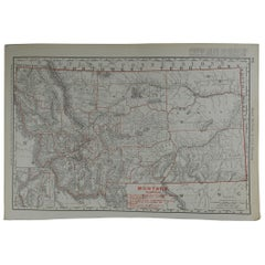 Original Antique Map of Montana by Rand McNally, circa 1900