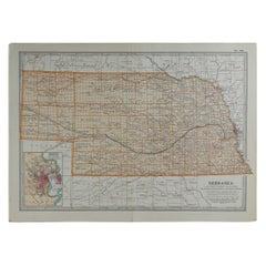 Original Antique Map of Nebraska, circa 1890