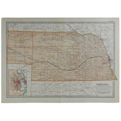 Original Antique Map of Nebraska, circa 1890