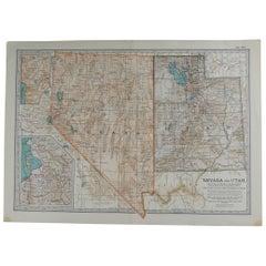 Original Antique Map of Nevada & Utah, circa 1890