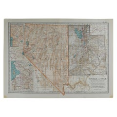 Original Antique Map of Nevada & Utah, circa 1890