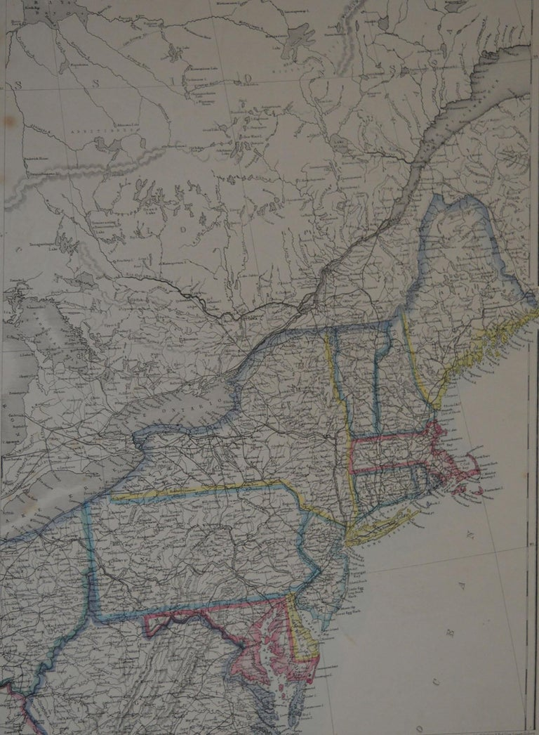 Great map of North East United States  Steel engraving with original color outline  Drawn and engraved by T.Ettling  Published in the weekly Dispatch Atlas, 1861  Some minor foxing to left margin.  Unframed.