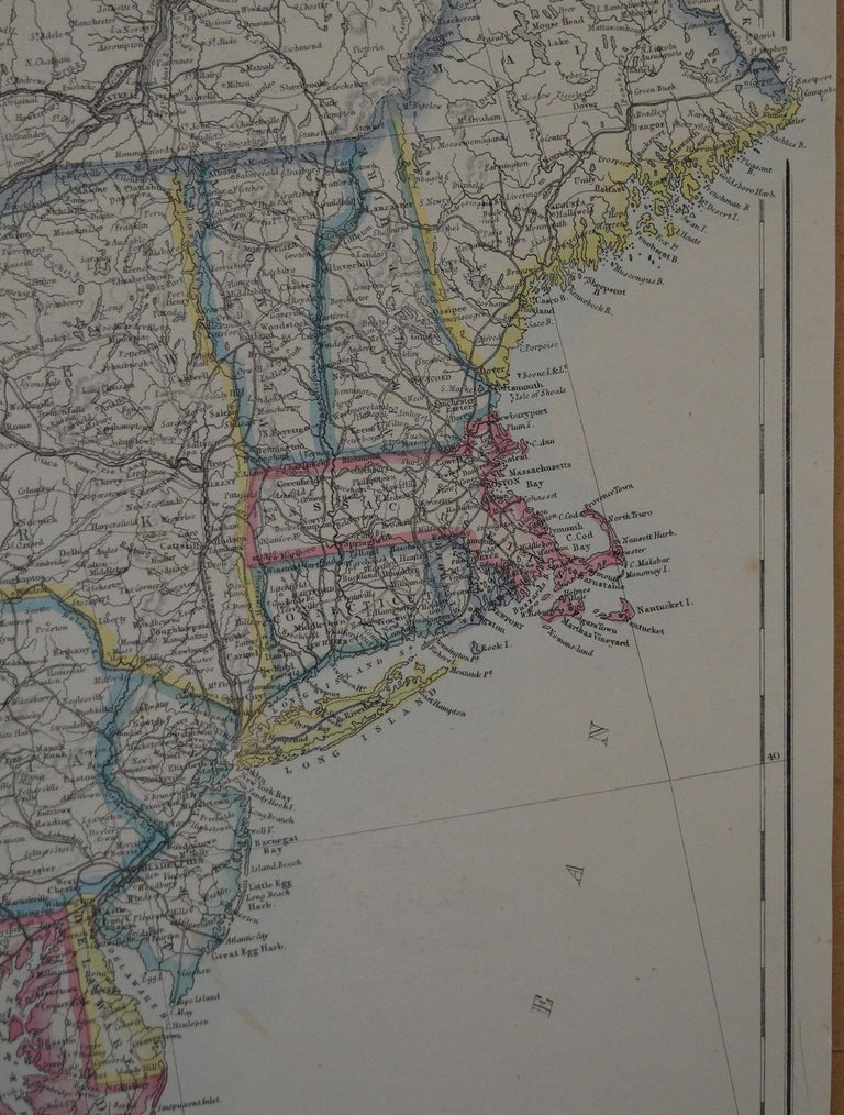 Other Original Antique Map of New York and Adjacent States by T.Ettling, 1861 For Sale