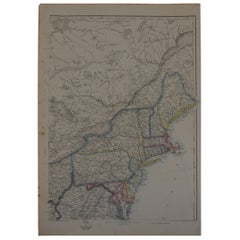 Original Antique Map of New York and Adjacent States by T.Ettling, 1861