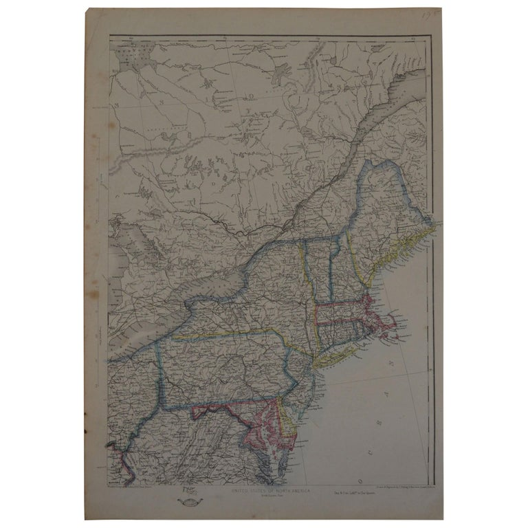 Original Antique Map of New York and Adjacent States by T.Ettling, 1861 For Sale