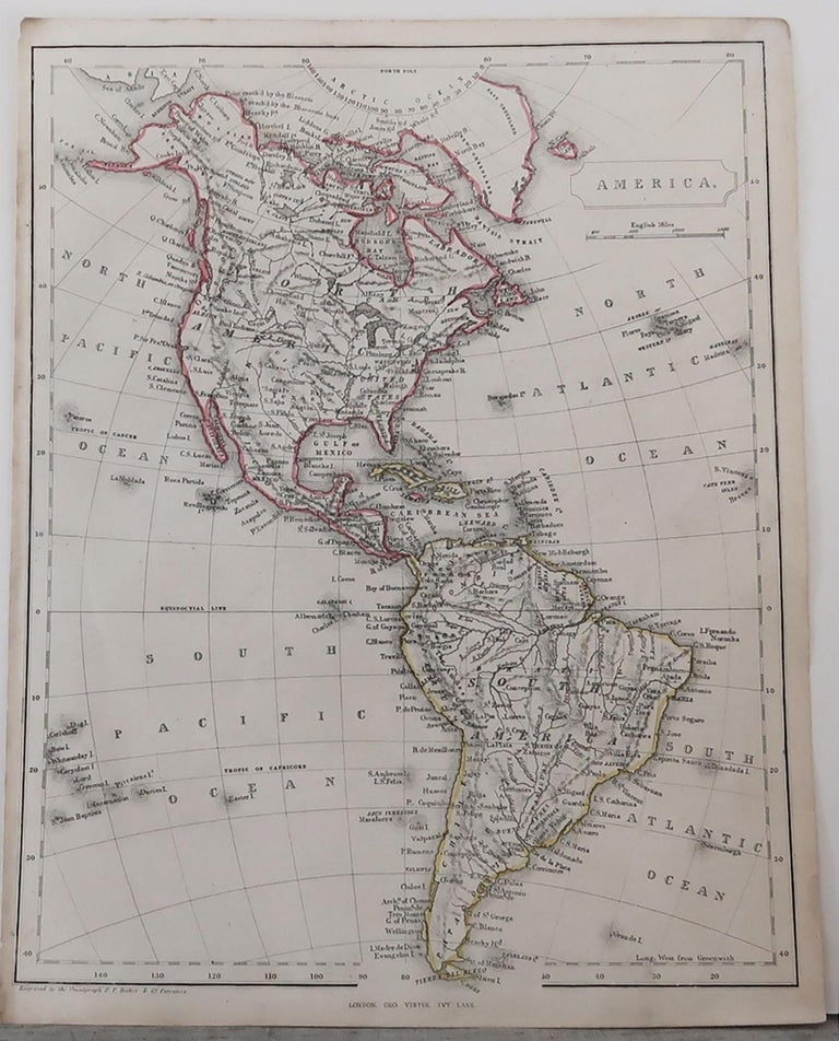 Great map of The Americas  Steel engraving with original color outline  Engraved by Becker  Published by Virtue, circa 1840.  Unframed.