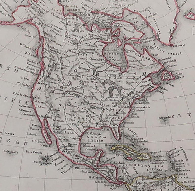 Other Original Antique Map of North and South America by Becker, circa 1840