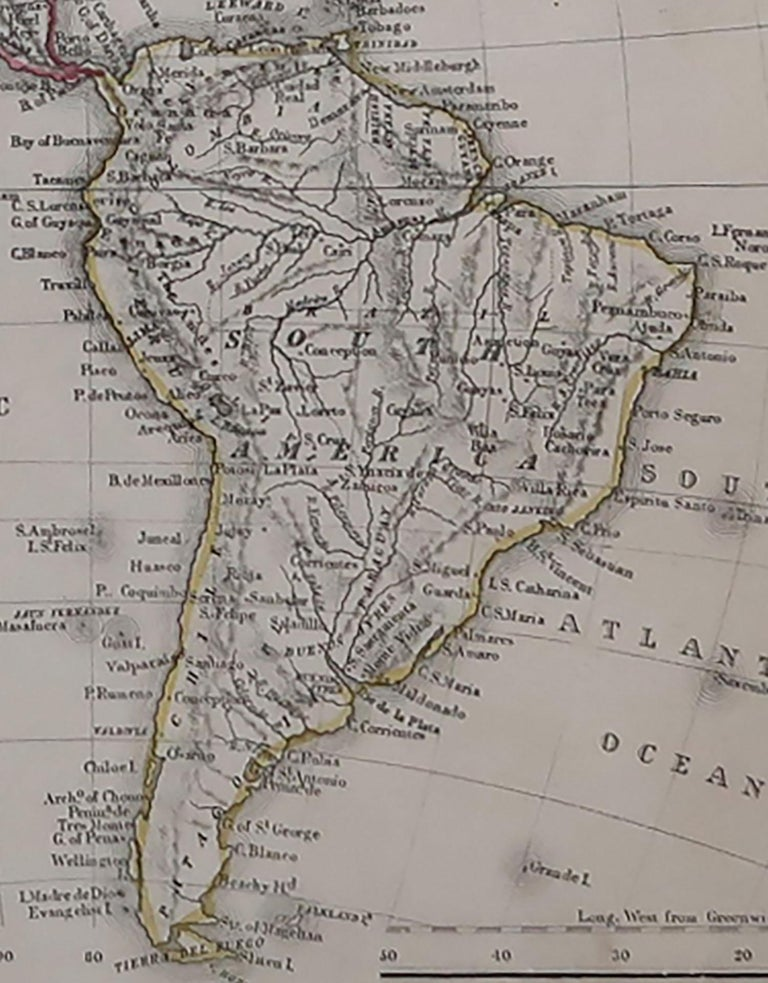 English Original Antique Map of North and South America by Becker, circa 1840