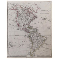 Original Antique Map of North and South America by Becker, circa 1840