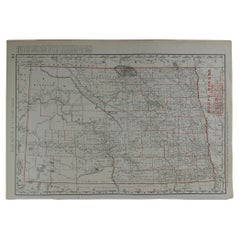 Original Antique Map of North Dakota by Rand McNally, circa 1900