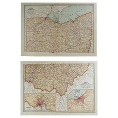 Original Antique Map of Ohio, circa 1890