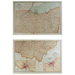 Original Antique Map of Ohio, circa 1890