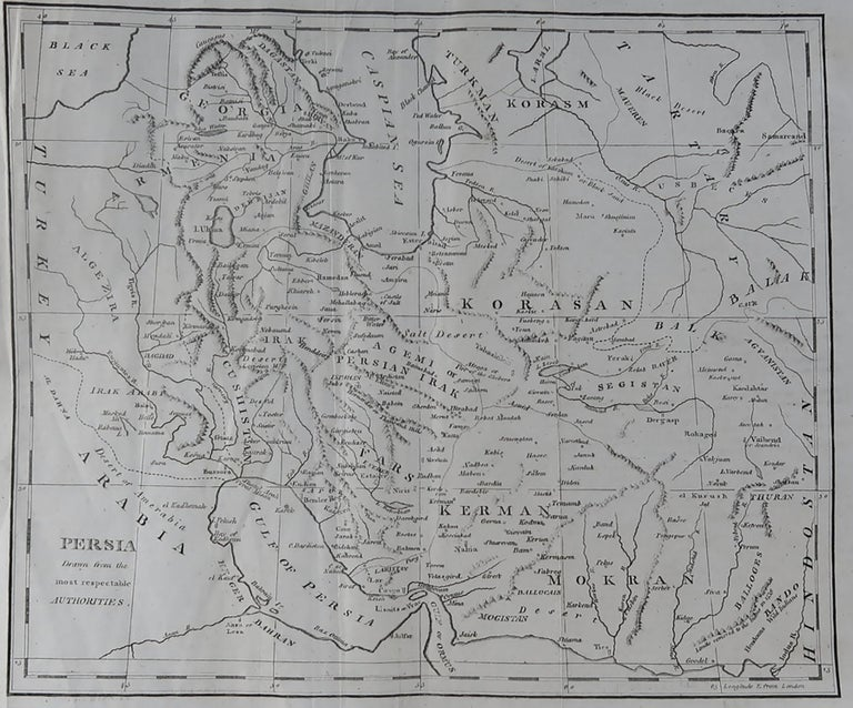 Super map of Persia  Copper plate engraving   Published, circa 1820.  Unframed.  Some minor creasing.