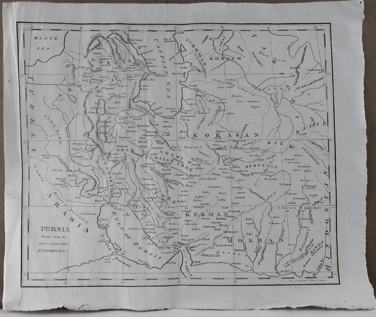 English Original Antique Map of Persia, circa 1820