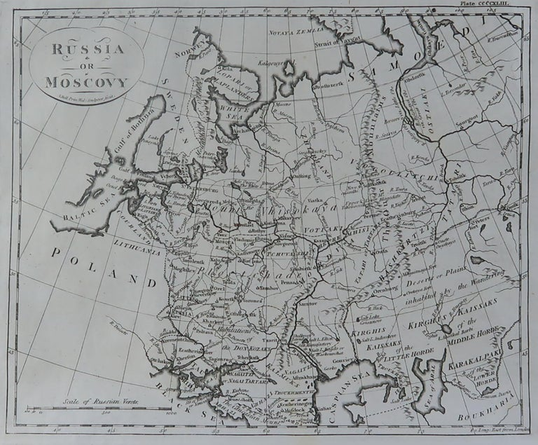 Super map of Russia  Copper plate engraving by A. Bell  Published, circa 1790.  Unframed.