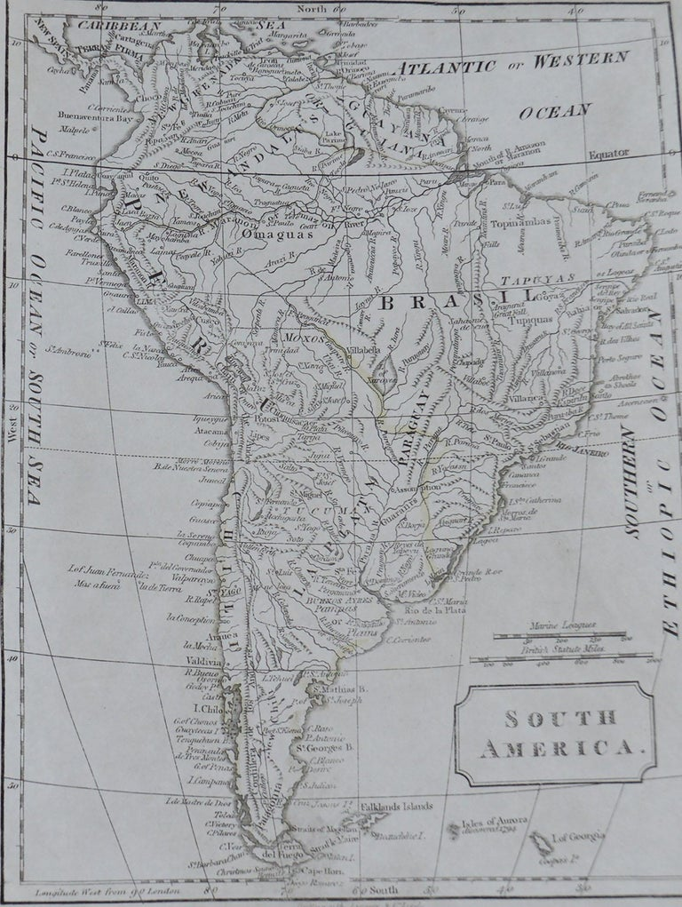 Great map of South America  Copper plate engraving  Published by Butterworth, Livesey & Co., circa 1830  Unframed.