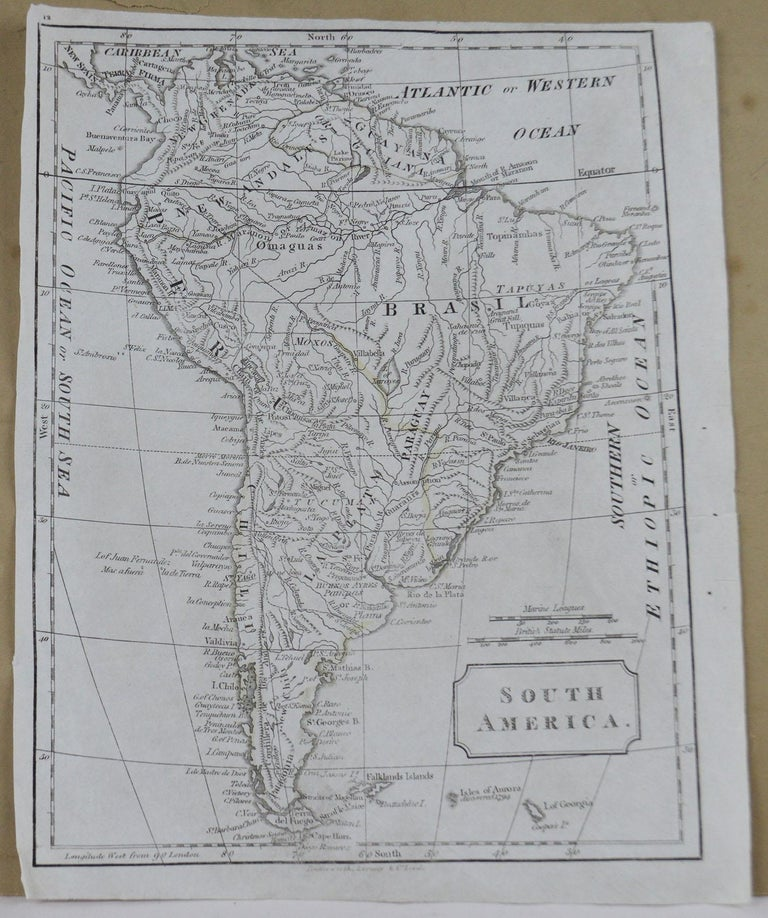 English Original Antique Map of South America, circa 1830