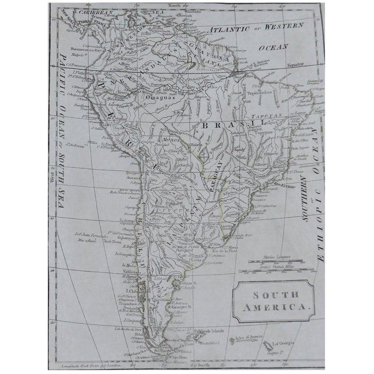 Original Antique Map of South America, circa 1830