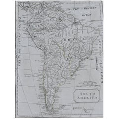 Original Antique Map of South America, circa 1830