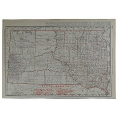Original Antique Map of South Dakota by Rand McNally, circa 1900