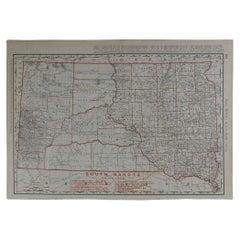 Original Antique Map of South Dakota by Rand McNally, circa 1900