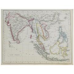 Original Antique Map of South East Asia by Becker, circa 1840