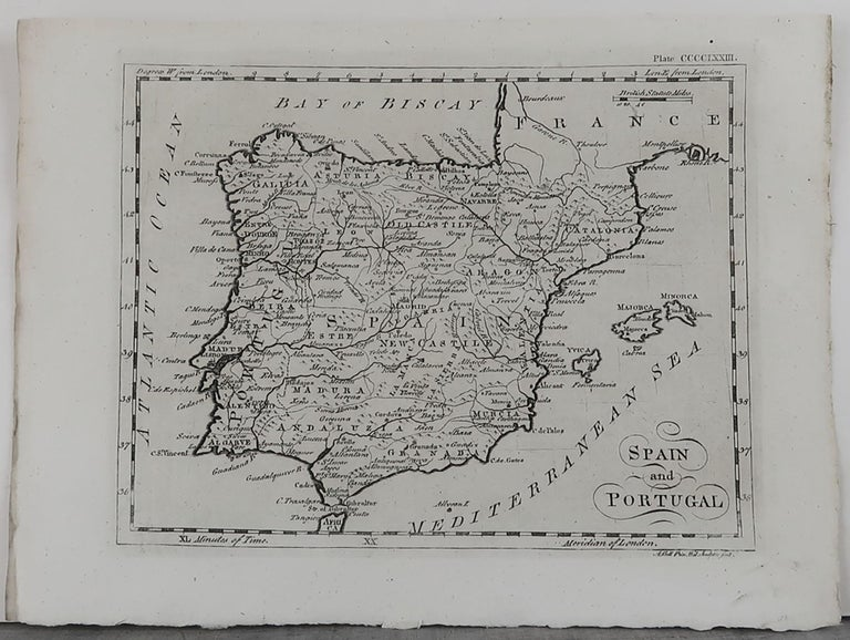 Super map of Spain and Portugal  Copper plate engraving by A.Bell  Published, circa 1790.  Unframed.